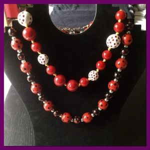 Jewelry - Red & Polka Dots Bead Necklaces